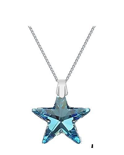 Crystals & Stones - Estrella de 28 mm con cadena de plata de ley 925 con colgante original Swarovski® Elements, collar con estuche