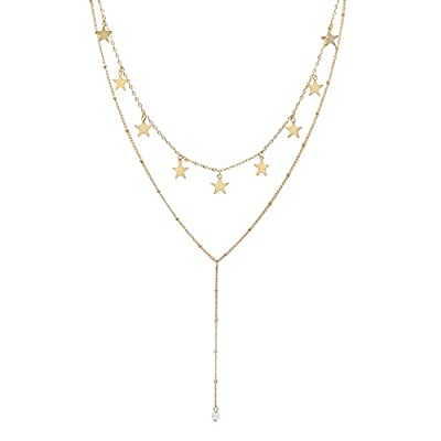 Aisansty Layered Gold Star Choker Necklace Handmade Pearl Pendant Bead Layering Chain Y Necklaces Set for Women Girls