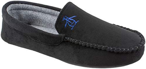 Original Penguin Mens Slippers, Microsuede Venetian Moccasin Slipper,Black,Men's Size 12