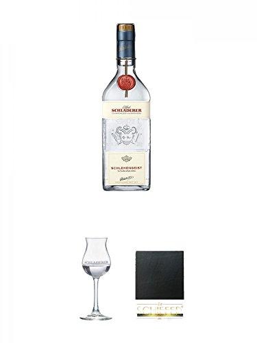Schladerer Schlehengeist 0,7 Liter + Schladerer Kelchglas 1 Stück + Schiefer Glasuntersetzer eckig ca. 9,5 cm Durchmesser