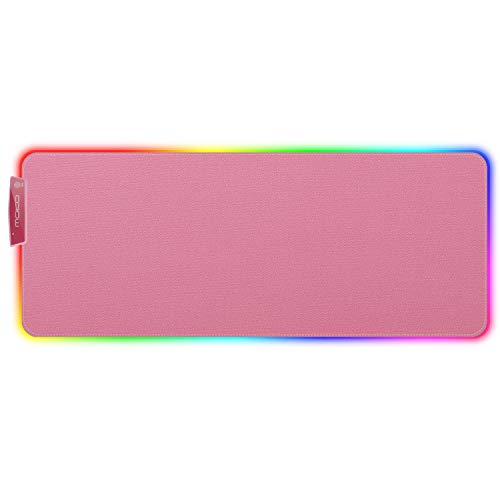 MoKo RGB Gaming Mouse Pad, Large Extended Glowing Led Mousepad with 15 Lighting Modes and USB 2.0 Port, Non-Slip Rubber Base Computer Keyboard Pad Mat for Gamer, 32.09 x 12 x 0.16 Inch - Cherry Pink