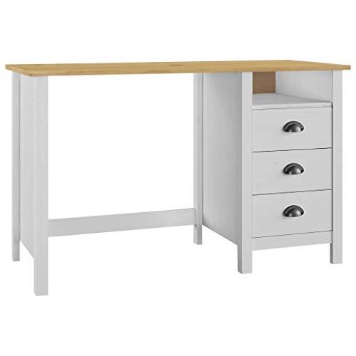 vidaXL Kiefernholz Massiv Schreibtisch mit 3 Schubladen Computertisch Bürotisch Büromöbel Laptoptisch PC Tisch Arbeitstisch 120x50x74cm