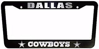 ClustersNN Bhartia Dallas Cowboys Black Chrome License Plate Frame Stainless Metal Tag Holder 12