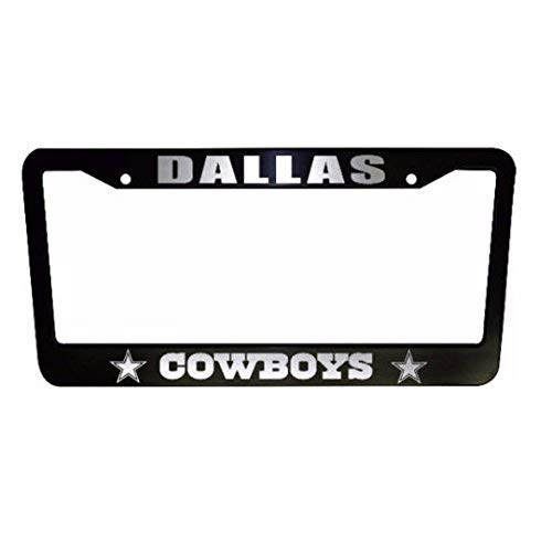 ClustersNN Bhartia Dallas Cowboys Black Chrome License Plate Frame Stainless Metal Tag Holder 12