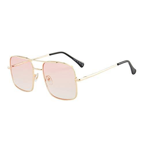 XUANTAO Gafas de Sol de Moda clásicas Gafas de Sol de Montura Grande de Moda de Personalidad Gafas de Sol Elegantes de película oceánica para Mujer Montura Dorada Doble película Rosa