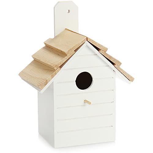 com-four® Vogelhaus aus Holz - Nistkasten für Kleinvögel - Dekoratives Futterhaus zum Aufhängen - Vogelhäuschen für kleine Wildvögel (01 Stück - 16.5x10.5x22cm weiß)