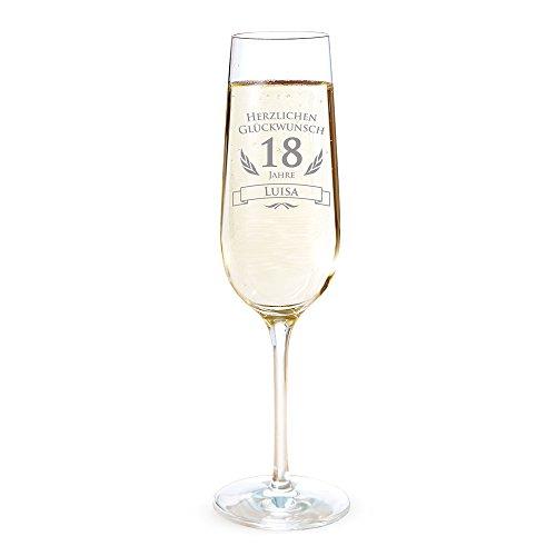 AMAVEL Sektglas mit Gravur zum 18. Geburtstag – Personalisiert mit [Namen] – Sektflöte als Geburtstagsgeschenk – Geschenkidee für Frauen – Glas für Sekt, Champagner und Prosecco – Sektkelch