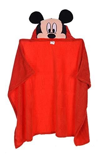 Mickey Maus Badetuch Bademantel Kapuzen Badeponcho Poncho für Kinder aus Fleece, 80 x 120 cm, rot