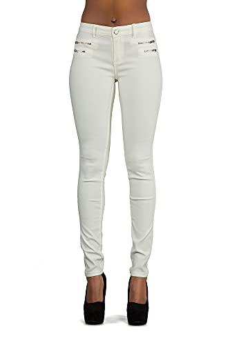 Crazy Lover Hochwertige Damenhosen, Glatte Damen Hose, Frauen Kunstlederhose, PU Lederhose Jean (36, Weiß)