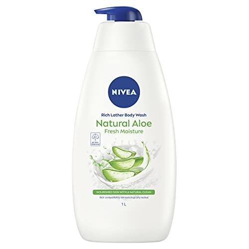 NIVEA Creme Fresh Aloe Vera Shower Body Wash (1L), Freshly Scented Shower Gel with Gently Cleansing Aloe Vera 1L