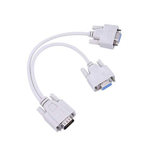 Silverdee 0,3 Meter Tragbare Größe VGA SVGA 1 PC ZU 2 Monitor Stecker zu 2 Doppelbuchse Y Adapter Splitter Kabel 15 PIN