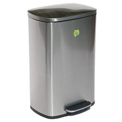 Made for us 50 Liter Edelstahl Mülleimer Tret-Abfalleimer Küchen-Mülleimer 50 L Abfall-Eimer Pedal-Treteimer