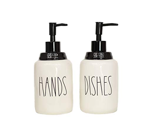 Cam n Honey Modern Farmhouse Style Ceramic Dishes and Hands Liquid Soap Dispenser Set – Perfect for Kitchen Counter Décor (14oz, White Bottles with Black Pump and Lettering)