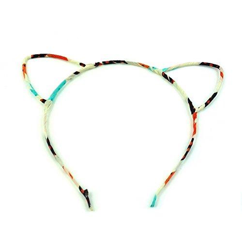 rougecaramel - Accessoires cheveux - Serre tête oreille de chat - beige multicolore