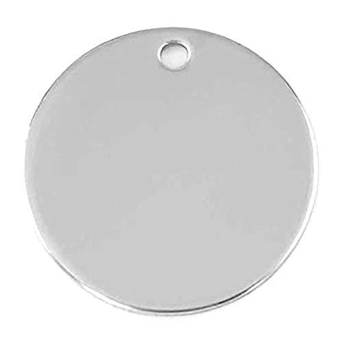 ステンレス プレート チャーム ラウンドプレート メタルタグ 刻印 穴あき フラット アクセサリーパーツ 素材 材料 丸型 金具 シルバー 手芸 ハンドメイド 1094 (直径(厚み)1 10mm(1.0mm/1.0mm), 直径(厚み)2 10mm(1.
