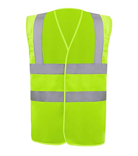 Safety Vest Reflective stripes Safety knitted Vest Bright Construction Workwear for men and women. (Small, Green)