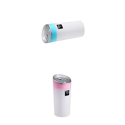 MagiDeal 2PCS 300ML Ultrasónico Humidificador USB para Coche Oficina Casa de Color Azul Rosa