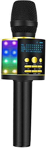 BONAOK Magic Karaoke Microfone, Bluetooth inalámbrico, grabadora de cantos, micrófono para niños con cancelador de voz, FM Bluetooth, recargable, compatible con dispositivos Bluetooth, color dorado