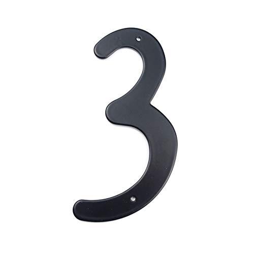 Zyilei-Números Casas Casa Puerta Número de dirección, números de Aluminio con Clavos Fija Puerta Grande Dirección sesión # 3, Negro 101mm Altura Casa Big Number, Estilo Moderno