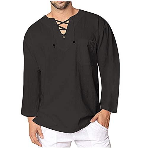 2021 Camisa Hombre otoño Algodón y lino Manga Larga Color sólido camiseta Moda Casual Suelto T-shirt Blusas camisas Camiseta Cuello en v suave básica Primavera Verano camiseta Top