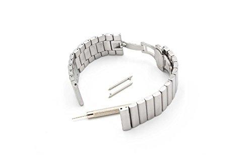 vhbw Ersatz Armband passend für Fossil Q Crewmaster, Nate, Wander Fitness Uhr, Smart Watch - 19cm Edelstahl Silber
