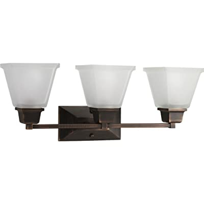 Progress Lighting P2743-74 3-Light Bath Fixture with Square Etched Glass and Can Mount Up or Down