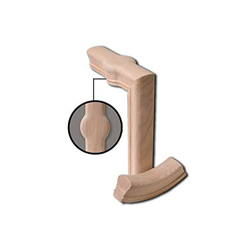 7088-2 Red Oak 2 Rise Straight Gooseneck with Cap - 6010 Wood Staircase Handrail Fitting for Stair Remodel