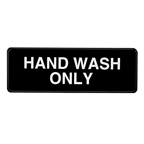 Alpine Industries Hand Wash Only Sign - Durable Quality Self Stick Wall Placard w/ Visible Lettering & Symbol For Restaurants, Businesses, Bathroom & Restroom Sinks