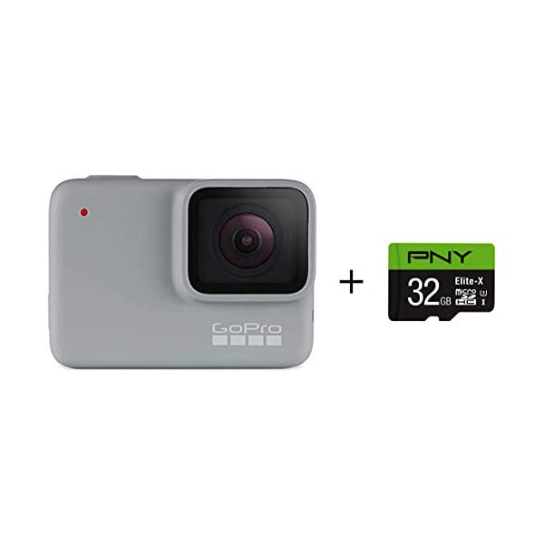 GoPro HERO7 White + PNY Elite-X 32GB microSDHC Card Adapter-UHS-I, U3 – Waterproof...