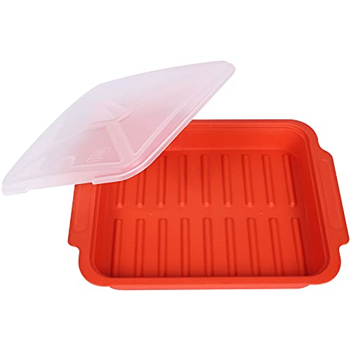 """MUGOOLER Microwave Easy Bacon Maker/Cooker with Lid, Safety, Quick and with No Mess, 11.3"""" L x 9.0"""" W x 2.4"""" H, Red"""