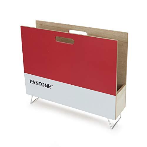 Balvi Revistero Pantone Color Rojo Decorativo Organizador para revistas, Diarios, Documentos, con diseño Moderno y Minimalista Pantone Madera DM 28x38x9 cm