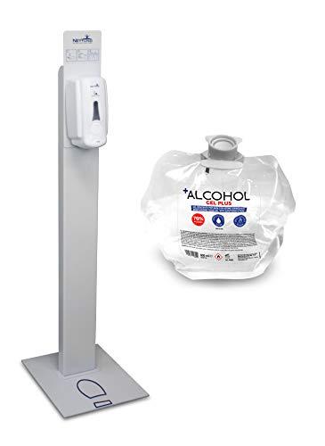 Lámpara de pie para desinfectante de manos con dispensador manual incluido + 1 bolsa de desinfectante de manos a base de alcohol (70%) de 1 litro