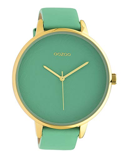 Oozoo dameshorloge met design wijzerplaat en lederen band 48 MM Biscay Green C10573
