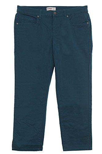 Sheego Capri Hose Jeans Damen Stretch Sommerhose Plusgröße, Farbe:Petrol;Damengrößen:52
