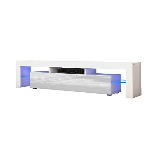TV Stand Solo 200 Modern LED TV Cabinet/Living Room Furniture/Tv Cabinet fit for up to 90-inch TV Screens/High Capacity Tv Console for Modern Living Room (White/White)