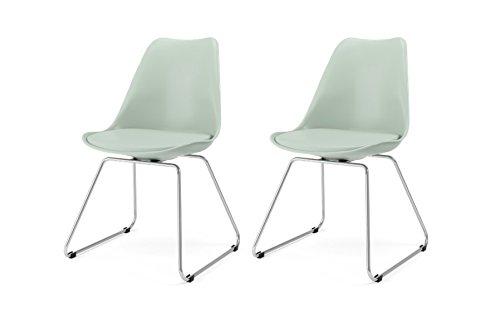 Tenzo 3233-876 Designer Lot de 2 chaises, Sauge, Coque en polypropylène, Coussin d'assise 100% polyurétyhane. Pieds en acier chromé, 83,5 x 48,5 x 51 cm (HxLxP)