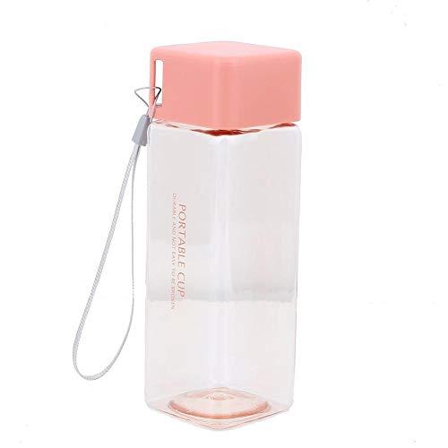 Oumefar Anti-Leck-Wasserkrug BPA-freie quadratische Wasserflasche für Tee für Büro(Pink)