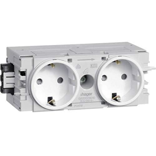 Hager GS20009010Typ F weiß–Steckdose (120mm, 61mm, 50mm)