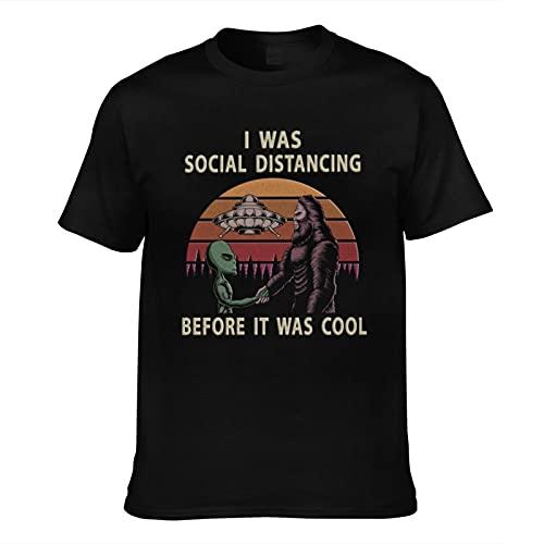 mengmeng I was Social Distancing Before It was Cool 5 Camisetas de manga corta vintage con gráficos para hombre