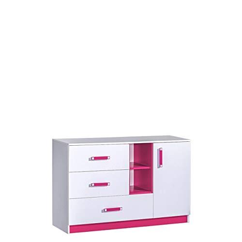 Furniture24 Kommode Sideboard TRAFIKO 07 mit 3 Schubladen und 1 Tür (Weiß/Rosa)