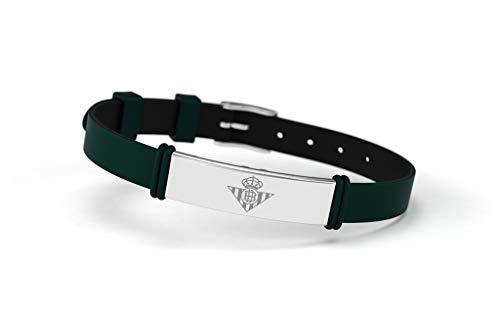 Real Betis Balompié RBB - Bracciale alla moda con scudo regolabile, per uomo, donna e bambino, in silicone e acciaio inox, prodotto ufficiale verde