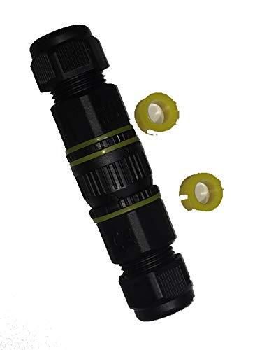 IP68 Outdoor-Steckverbindung inkl. Schutzkappe, Schnellverbinder, Stecker + Buchse, 3polig, bis 12mm, codiert, für nicht permanente Verbindung von 2 Kabelenden bspw. im Garten, Lampenanschluss, Solaranlagensteckverbindung