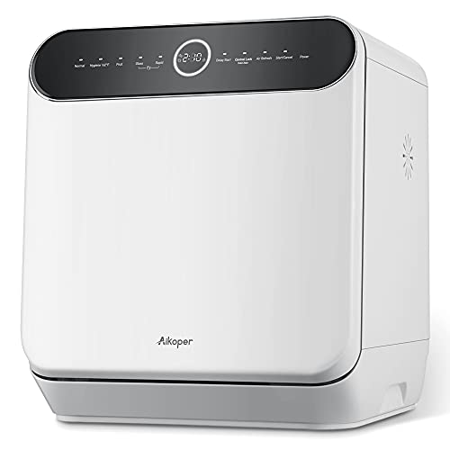 Countertop Dishwasher, Aikoper Compact Portable Dishwasher with 6L Built-in Water Tank & Water Hose Inlet, Mini Dishwasher with 5 Cleaning Cycles, Quick, Fruit, for Small Apartment, Dorms, RVs - White