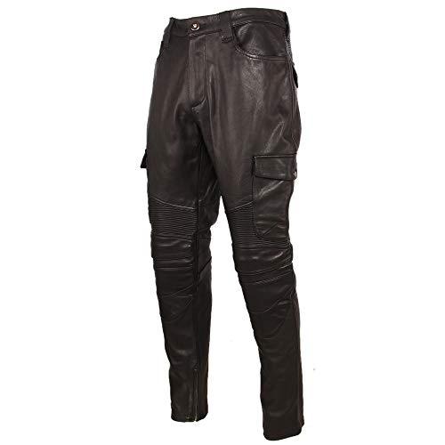 NP Motorrad Lederhose Herren Lederhose Dickes Rindsleder Vintage Grau Braun Schwarz Herren Bikerhose Winter Gr. 56, Schwarz