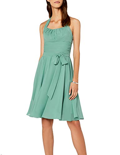 Astrapahl Damen Cocktail Kleid Neckholder, Knielang, Einfarbig, Gr. 34, Grün (seegrün)