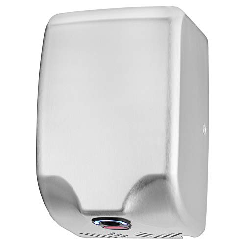 ASIALEO 110V/1350W Commercial Electric Hand Dryer for bathrooms,Automatic Sensor,High Speed with Low Noise,Hot/Cold Air,Brushed Stainless Steel 304 Cover,Innovative Compact Design, Easy Installation