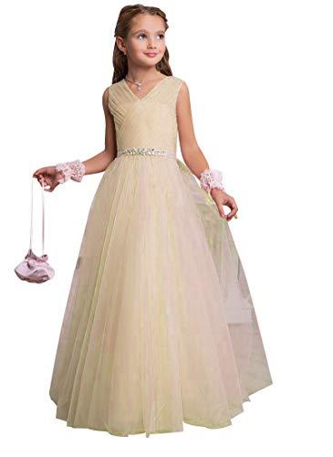 CLLA dress Mädchen V-Ausschnitt Blumenmädchenkleid A-Linie Tüll Lang Hochzeit Fest Mädchen Kleid mit Strass Bunch Kinderkleid Partykleid Kommunionkleid(Champagner,10-11 Jahre)