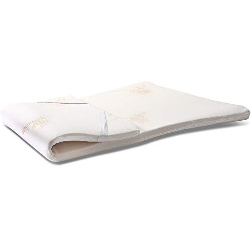 Topper 100% puro látex natural corrector para colchón o sobrecolchón, ecológico y desenfundable con tejido de bambú francés, 140 x 190 cm