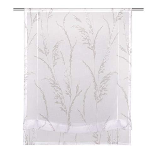 HOME WOHNIDEEN bandjesrolgordijn stoffen rolgordijn vouwgordijn linnenstructuur grassen wit taupe incl. techniek 80x140cm