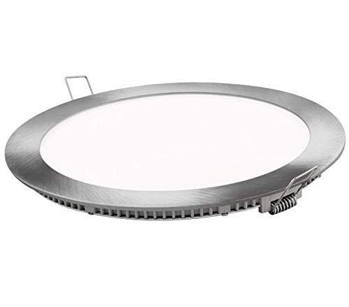 Placa LED SuperSlim 20W Redondo Empotrado Φ220mm Downlight LED Marco Plata Luz Neutra 4000k-4500k 1600 Lúmenes
